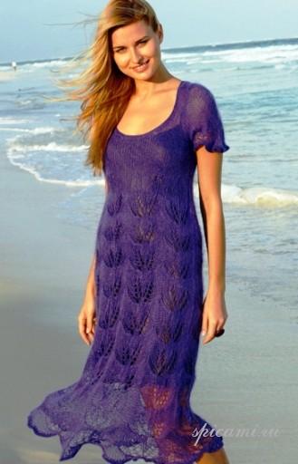 Вязаные платья лето спицы