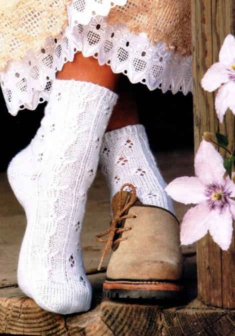 вязание крючком ажурных носок