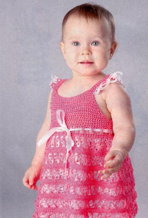 платье вязанное для девочки 2 лет
