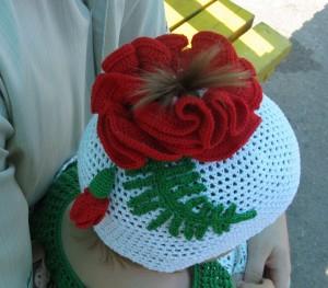 шапочка с отверстием для хвостика