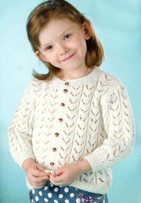Вязание ажурная кофточка для девочки реглан