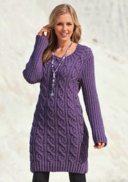 Вязание спицами платье для осени