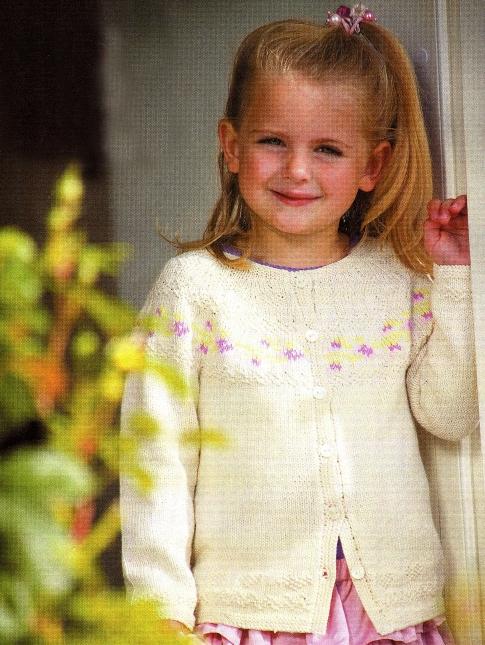 схема вязания красивой кофты для девочки.
