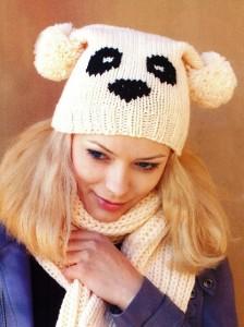 вязаная шапочка панда и шарф
