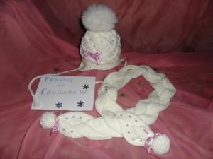 шапочка и шарфик для девочки спицами