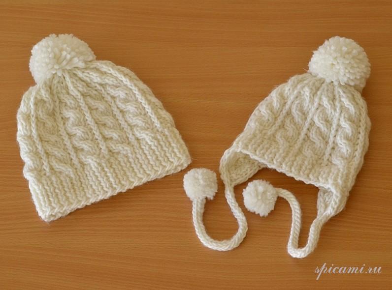 Вязание детской шапки с помпоном
