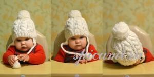 вязаная шапочка для малыша с ушками