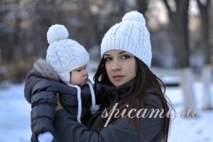 вязаные шапочки для мамы  и сына