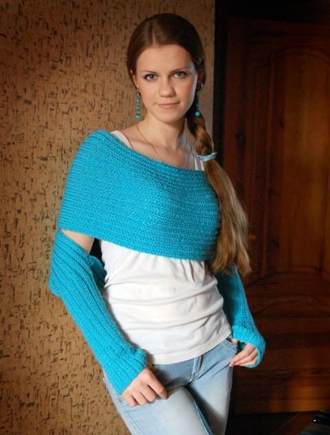Вязание свитер шарф спицами 35