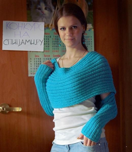 Вязание свитер шарф спицами 79
