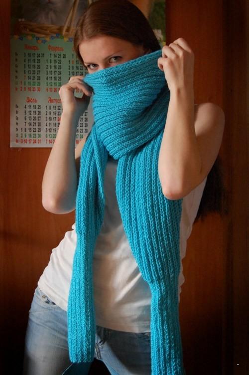 Вязание объёмных шарфов спицами 358