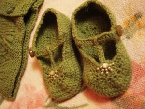 вязаные пинетки туфелки