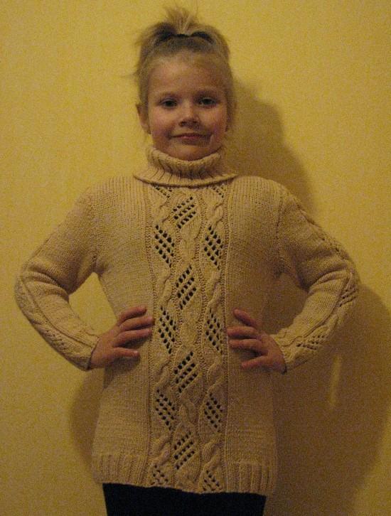 Вязание спицами свитер для девочки 6-7 лет