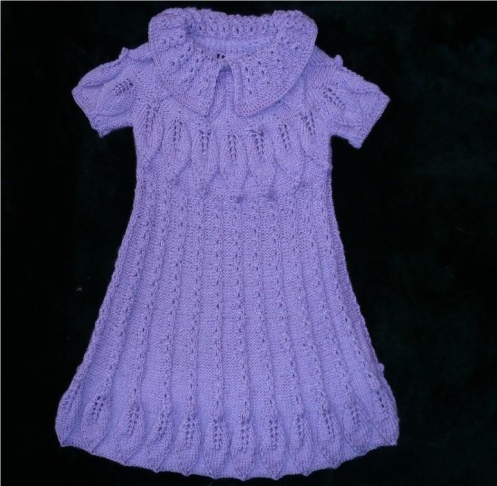 Узоры спицами для платья девочке
