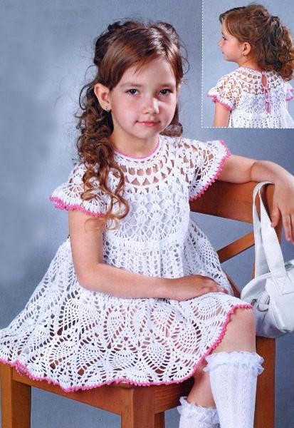 Платье крючком для девочки 9-10 лет