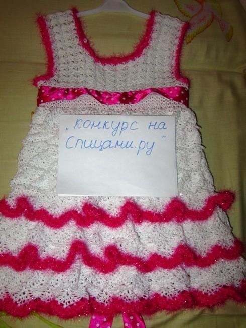 Вязание платье на девочку 2 года крючком