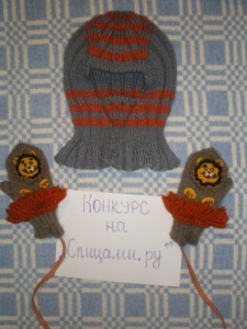 шапочка и варежки спицами