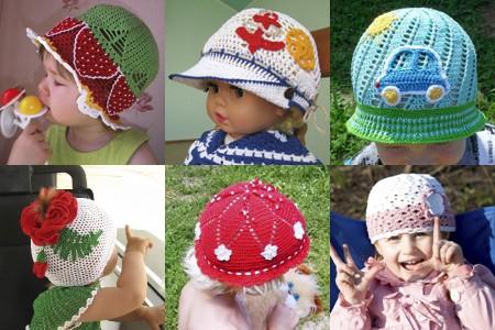Вязание крючком шапочек для лета детям до  685