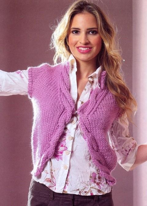 Вязание для женщин спицами.  Для вязания потребуется: 450 г сиренево-розовой пряжи MONDIAL MERINO MAXI (50...