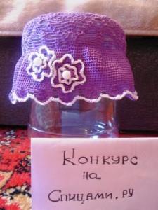 вязаная панамка с цветами