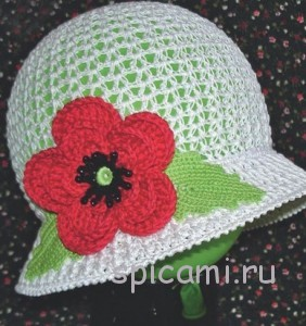 вязаная шляпка с маком