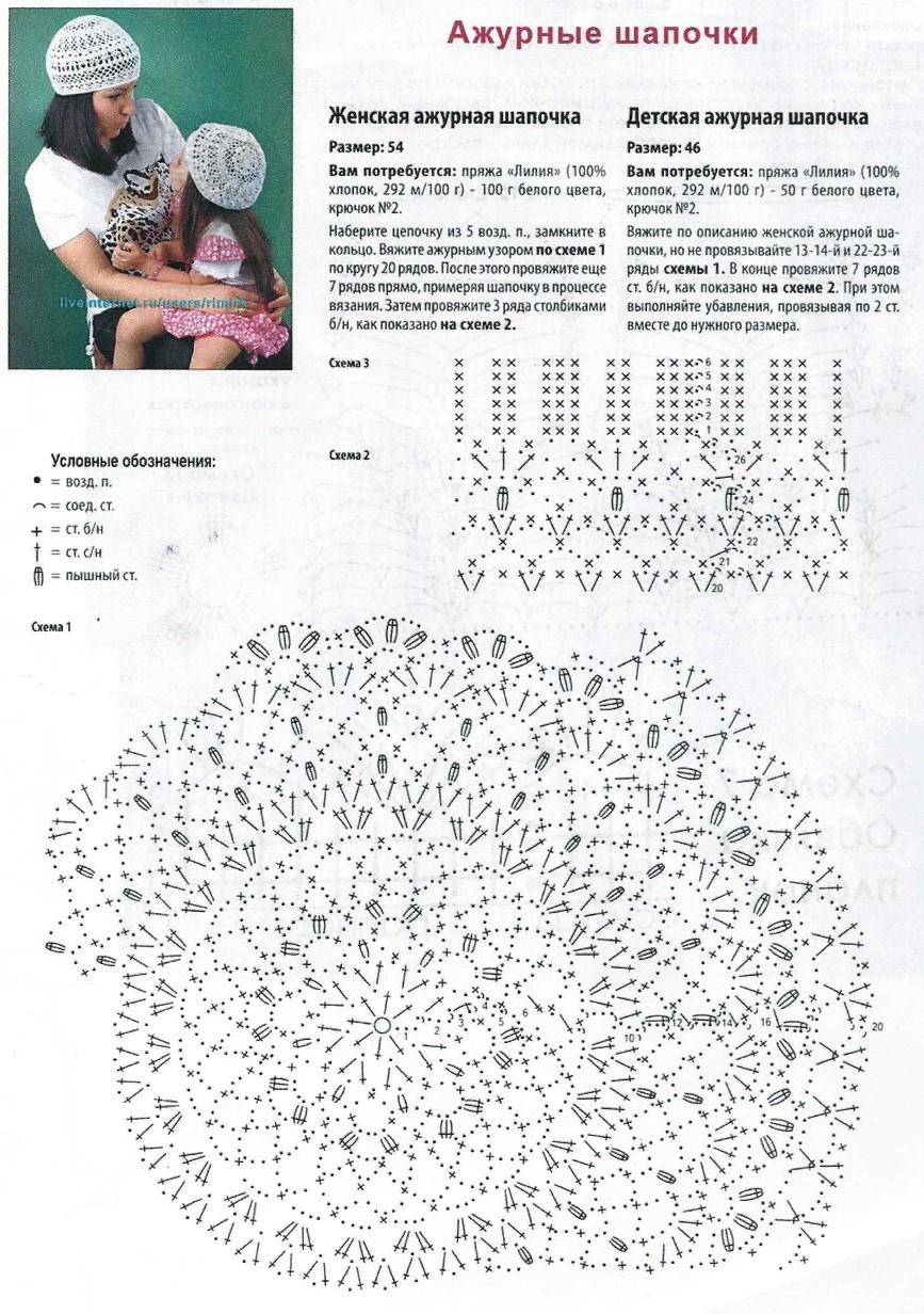 Схема вязания шапочки для девочки крючком на лето 53
