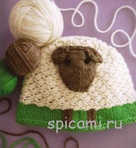 вязаная шапочка овечка