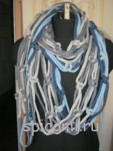 вязаный шарф из полосок