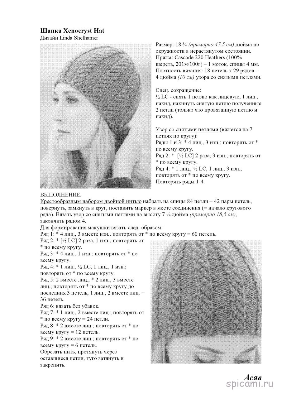 Женская шапка вязаная на спицах женская схема вязания 74
