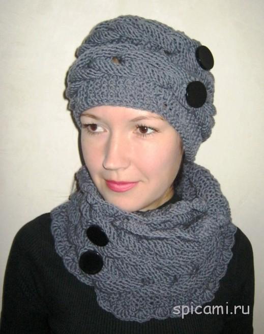Вязание спицами комплект шапка шарф