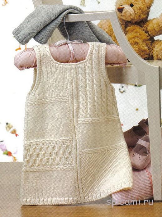 Вязание детских платьев спицами со схемами на 2 годика