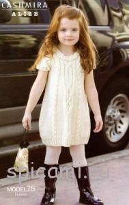 вязаное платье для девочки из шерсти
