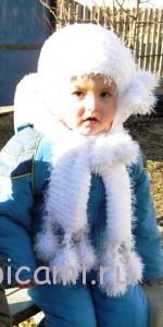 вязаная шпочка, шарфик и варежки для девочки