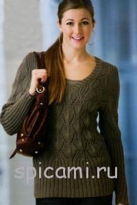 вязаный пуловер с ажурными ромбами