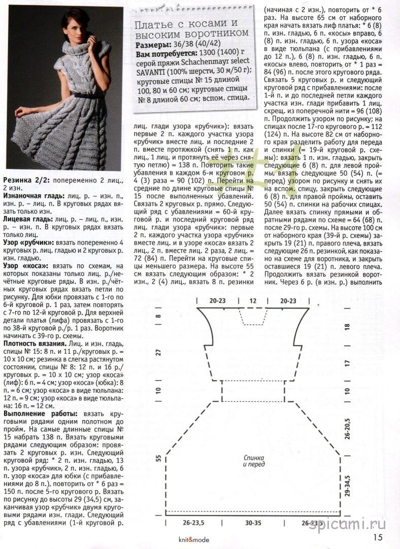 Вязаное платье спицами с описанием и схемами