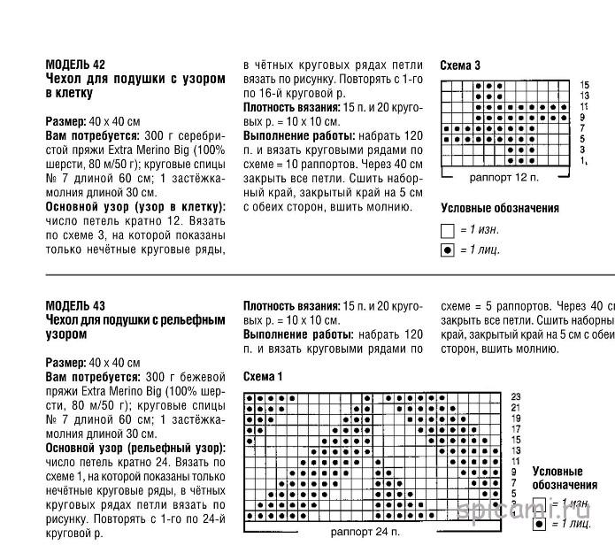 Схемы для вязания подушек спицами с описанием 430