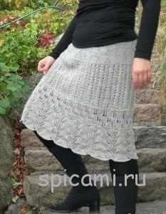 красивая юбка спицами
