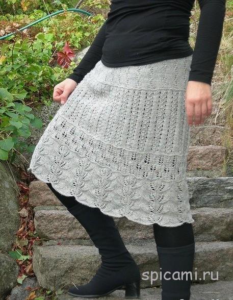 Летняя юбка связать спицами