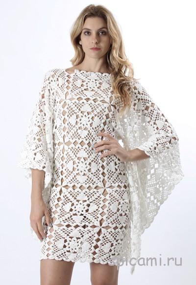 Вязание крючком ажурное платье из мотивов