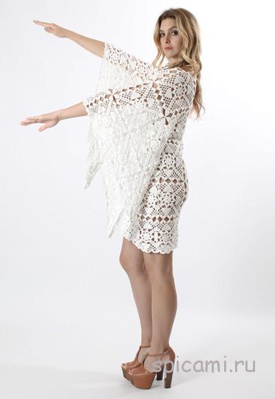 Вязаное платье крючком белое платье