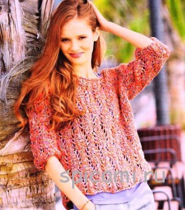 меланжевый пуловер спицами