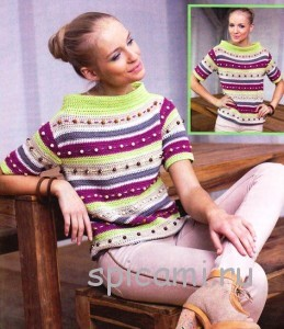 яркий пуловер вязаный крючком