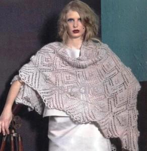 вязаня шаль спицами