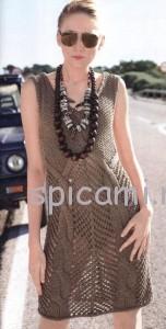 ажурное вязаное платье спицами
