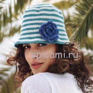 шляпка с цветком крючком