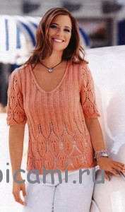 пуловер вязаный спицами на лето