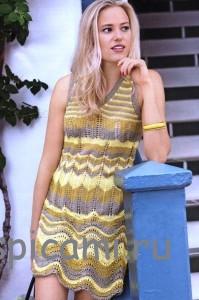 вязаное платье на лето спицами