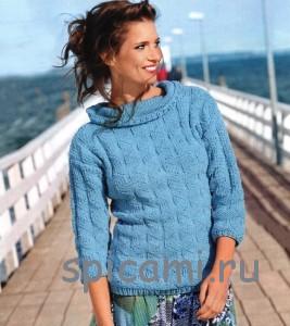 вязаный пуловер крупной вязки