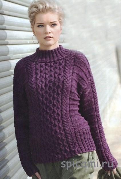 фиолетовый пуловер с косами вязание спицами крючком уроки вязания