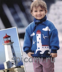 вязаный свитер для мальчика с рисунком